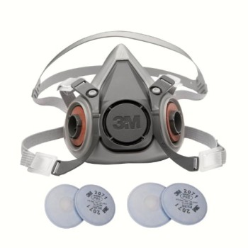 3M-6000-Series-Respirator-Medium-Half-Mask-Facepiece-with-Adjustable-Straps-Size-Medium-6200-with-2-Pairs-of-3M-2071-Filters-0