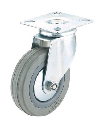 Steelex-D2592-2-Inch-110-Pound-Capacity-Swivel-Rubber-Plate-Caster-Gray-0