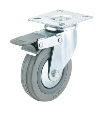 Steelex-D2598-3-Inch-150-Pound-Swivel-Double-Lock-Rubber-Plate-Caster-Gray-0