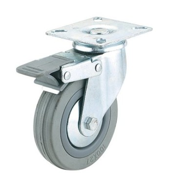 Steelex-D2600-5-Inch-220-Pound-Swivel-Double-Lock-Rubber-Plate-Caster-Gray-0