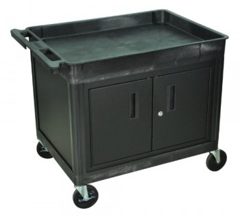 2-Shelf-Tub-Cart-with-Locking-Cabinet-Black-30H-x-24W-x-18D-0