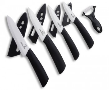 Abundant-Chef-TM-Premium-9-Piece-Ceramic-Cutlery-Knife-and-Peeler-Set-6-Chefs-5-Utility-4-Paring-3-Fruit-Knife-with-One-Peeler-Black-Handle-and-White-Blade-4-Sheaths-0