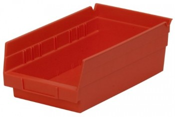 Akro-Mils-30130-12-Inch-by-6-Inch-by-4-Inch-Plastic-Nesting-Shelf-Bin-Box-RedCase-of-12-0