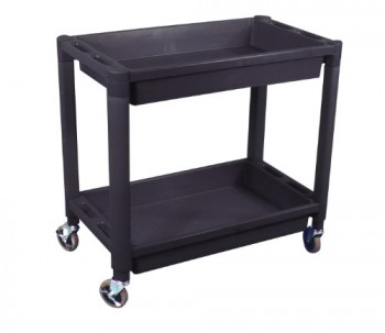 Astro-Pneumatic-8330-Heavy-Duty-Plastic-2-Shelf-Utility-Cart-Black-Color-0