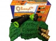 BunnyK-Expandable-Garden-Water-Hose-Green-New-Brass-Fittings-75-Ft-Free-Nozzle-0-0