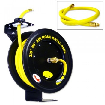 Commercial-Quality-50-Auto-Rewind-Air-Hose-Reel-with-38-RUBBER-Hose-0