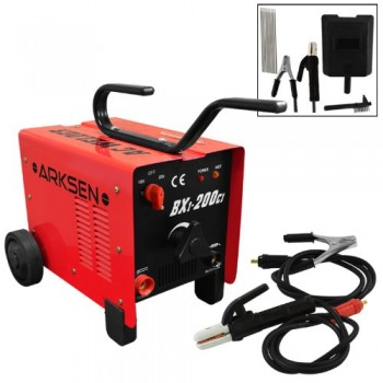 Dual-110220V-ARC-Welder-200AMP-Machine-Fan-Cooled-Single-Phase-107KVA-2-Wheels-0