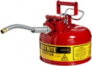 Justrite-AccuFlow-7210120-Type-II-Galvanized-Steel-Safety-Can-with-58-Flexible-Spout-1-Gallon-Capacity-Red-0