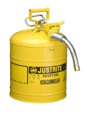 Justrite-AccuFlow-7250230-Type-II-Galvanized-Steel-Safety-Can-with-1-Flexible-Spout-5-Gallons-Capacity-Yellow-0