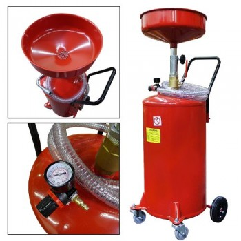 Portable-Waste-Oil-Drain-20-Gallon-Capacity-Tank-Air-Operated-w-Wheels-Hose-0