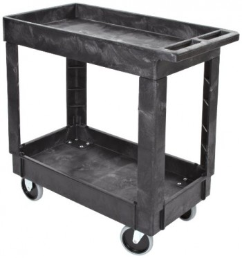 Rubbermaid-Commercial-FG9T6600BLA-Structural-Foam-Service-Cart-with-Lipped-Shelves-2-Shelves-Black-0