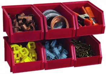 Stack-On-Bin-503-Pack-Small-Parts-Storage-Organizer-Bin-6-Pack-Red-0