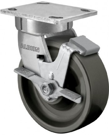 Albion-110-Series-6-Diameter-X-Treme-Plus-Solid-Polyurethane-Wheel-Contender-Kingpinless-Swivel-Caster-with-Face-Brake-Precision-Sealed-Ball-Bearing-4-12-Length-X-4-Width-Plate-1400lbs-Capacity-Pack-o-0