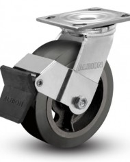 Albion-16-Series-4-Diameter-Moldon-Rubber-on-Cast-Iron-Wheel-Medium-Heavy-Duty-Zinc-Plate-Swivel-Caster-with-Face-Brake-Roller-Bearing-4-12-Length-X-4-Width-Plate-300-lbs-Capacity-Pack-of-4-0