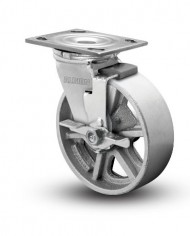 Albion-16-Series-6-Diameter-Cast-Iron-Wheel-Medium-Heavy-Duty-Zinc-Plate-Swivel-Caster-with-Face-Brake-Roller-Bearing-4-12-Length-X-4-Width-Plate-1250-lbs-Capacity-Pack-of-4-0