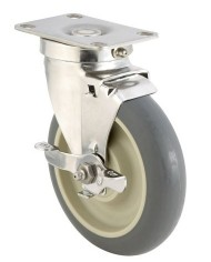 ER-Wagner-Plate-Caster-Swivel-with-Strap-Brake-Dust-Cover-TPR-Rubber-on-Polyolefin-Wheel-Stainless-Steel-Plate-Delrin-Bearing-250-lbs-Capacity-4-Wheel-Dia-1-14-Wheel-Width-5-116-Mount-Height-3-58-Plat-0