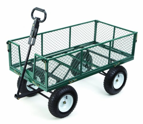 Farm-Ranch-MH2121D-Heavy-Duty-Steel-Utility-Cart-with-Removable-Folding-Sides-and-13-Inch-Pneumatic-Tires-1000-Pound-Capacity-48-Inches-by-24-Inches-Green-Finish-0