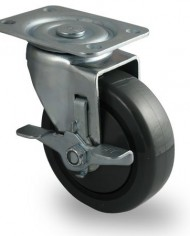 Faultless-Series-400-7700-Caster-4-x-1-14-Polyurethane-on-Polypropylene-Wheel-Swivel-with-Brake-499-4TG-RB-0