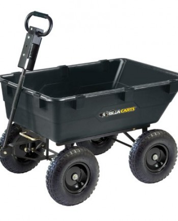 Gorilla-Carts-GOR866D-Heavy-Duty-Garden-Poly-Dump-Cart-with-2-In-1-Convertible-Handle-1200-Pound-Capacity-40-Inch-by-25-Inch-Bed-Black-Finish-0