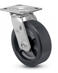 Jarvis-81-Series-5-Diameter-Polyolefin-Wheel-Swivel-Plate-Caster-with-Roller-Bearing-4-12-Length-X-4-Width-Plate-650-lbs-Capacity-0