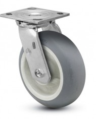 Jarvis-81-Series-6-Diameter-Advantage-TPR-Round-Wheel-Swivel-Plate-Caster-with-Roller-Bearing-4-12-Length-X-4-Width-Plate-450-lbs-Capacity-0