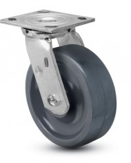 Jarvis-81-Series-6-Diameter-Solid-Elastomer-Wheel-Swivel-Plate-Caster-with-Precision-Ball-Bearing-4-12-Length-X-4-Width-Plate-1250-lbs-Capacity-0