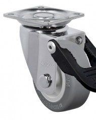 Schioppa-GLAP-210-BP-FPI-2-50-mm-Swivel-Brake-Caster-Non-Marking-Thermoplastic-PVC-Wheel-70-lbs-Plate-1-2132-x-1-2132-BH-1-14-x-1-14-0