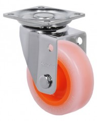 Schioppa-GLAP-210-Citrus-Orange-2-50-mm-Swivel-Non-Brake-Non-Marking-Polyethylene-Wheel-90-lbs-Plate-1-2132-x-1-2132-BH-1-14-x-1-14-0