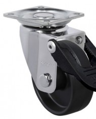 Schioppa-GLAP-210-NTT-FPI-2-50-mm-Swivel-Brake-Caster-Black-Nylon-Wheel-70-lbs-Plate-1-2132-x-1-2132-BH-1-14-x-1-14-0