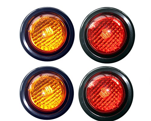 2-Amber-2-Red-LED-2-Round-ClearanceSide-Marker-Light-Kits-with-Light-and-Grommet-Truck-Trailer-RV-Pack-of-4-0