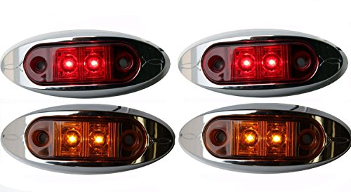 2-RED-2-AMBER-2-AutoSmart-KL-15114RE-Oval-LED-ClearanceSide-Marker-Light-with-Chrome-Bezel-for-TRUCK-TRAILER-0