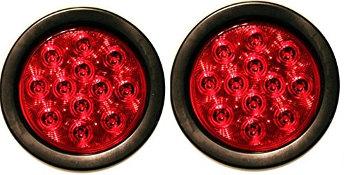 PAIR-BRAND-NEW-RED-LENS-4-ROUND-LED-STOP-TURN-TAIL-LIGHT-INCLUDES-LIGHT-GROMMET-PLUG-0