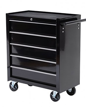 HomCom-Rolling-Tool-Cabinet-Chest-with-5-Drawers-Black-0