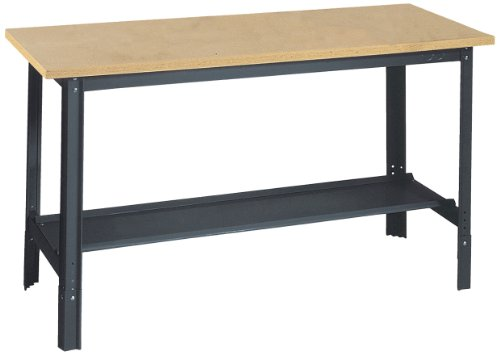 Edsal-UB500-Industrial-Gray-Heavy-Gauge-Steel-Economy-Work-Bench-with-1-Particle-Board-Shelf-29-Height-x-60-Width-x-24-Depth-0