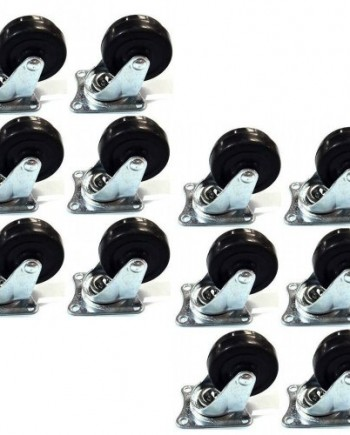 12-Pack-2-Swivel-Caster-Wheels-Rubber-Base-with-Top-Plate-Bearing-Heavy-Duty-0