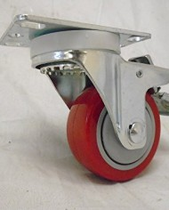 3-X-1-14-Swivel-Casters-Red-Polyurethane-Wheel-Total-Lock-Brake-300lb-Each-4-0-0