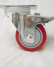 3-X-1-14-Swivel-Casters-Red-Polyurethane-Wheel-Total-Lock-Brake-300lb-Each-4-0-1