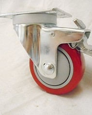 3-X-1-14-Swivel-Casters-Red-Polyurethane-Wheel-Total-Lock-Brake-300lb-Each-4-0-2