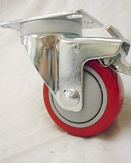 3-X-1-14-Swivel-Casters-Red-Polyurethane-Wheel-Total-Lock-Brake-300lb-Each-4-0-3