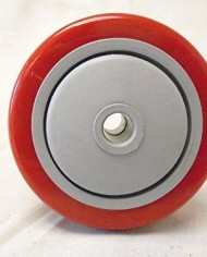 3-X-1-14-Swivel-Casters-Red-Polyurethane-Wheel-Total-Lock-Brake-300lb-Each-4-0-4