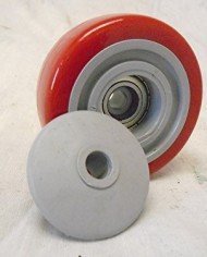 3-X-1-14-Swivel-Casters-Red-Polyurethane-Wheel-Total-Lock-Brake-300lb-Each-4-0-5