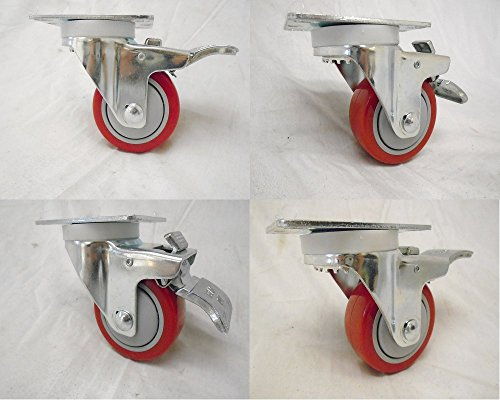 3-X-1-14-Swivel-Casters-Red-Polyurethane-Wheel-Total-Lock-Brake-300lb-Each-4-0