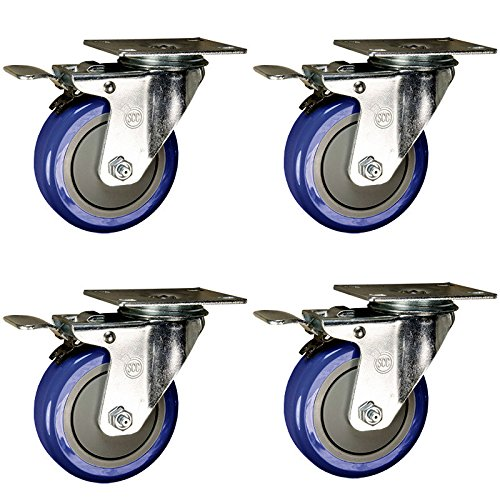 4-Inch-Swivel-Caster-Total-Lock-Brake-Blue-Polyurethane-Tread-Top-Plate-Set-of-4-0