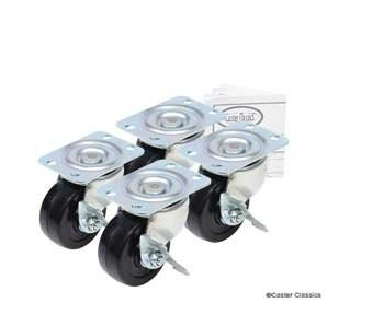 Caster-Classics-2-inch-Locking-Low-Profile-HD-Rubber-Wheel-Plate-Casters-4-Pack-0