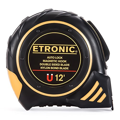 Etronic-12-Foot-by-58-Inch-Tape-Measure-Auto-Lock-Magnetic-Hook-Double-Sided-Blade-Nylon-Bond-Blade-0
