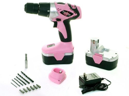Pink-Power-PP182-18V-Cordless-Drill-Kit-for-Women-with-2-Batteries-Case-Charger-and-Bit-Set-0