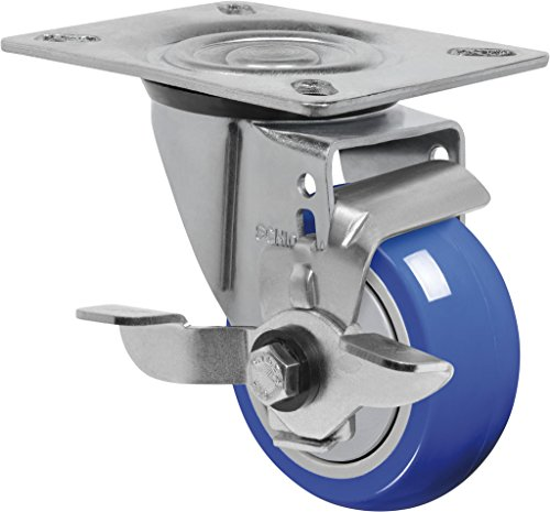 Schioppa-L12-Series-GL-312-TP-SL-3-x-1-14-Swivel-Caster-with-Wheel-Lock-Brake-Non-Marking-Extra-Soft-Thermoplastic-Rubber-Wheel-150-lbs-Plate-3-18-x-4-18-Bolt-Holes-3-18-x-2-14-0