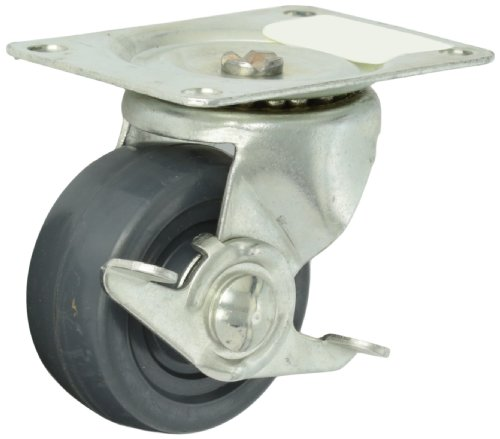 Shepherd-General-Duty-Series-3-Diameter-Hard-Rubber-Wheel-Single-Race-Swivel-Caster-with-Brake-4-18-Length-x-3-18-Width-Plate-225-lbs-Capacity-Zinc-Finish-0