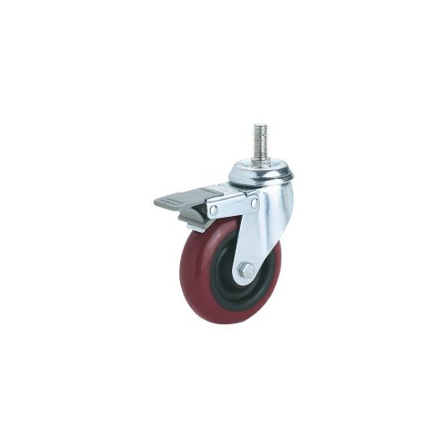 Steelex-D2618-5-Inch-300-Pound-Threaded-Swivel-Double-Lock-Polyurethane-Plate-Caster-0
