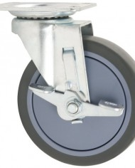 Waxman-4031555T-5-inch-Rubber-Plate-Swivel-Caster-with-Brake-Grey-Tire-and-Black-Rim-0